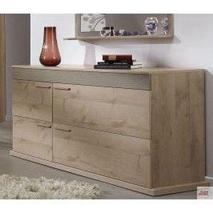 commode 4 tiroirs pour chambre ch ne et taupe bergamo structure en panneaux de particules. Black Bedroom Furniture Sets. Home Design Ideas