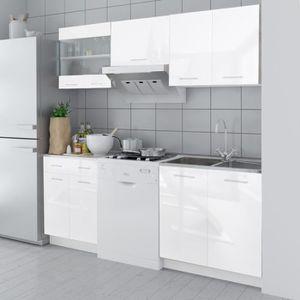 finition plinthe set de 5 meubles de cuisine blanc brillant 200 cm - Modele De Cuisine A Vendre Annee 50