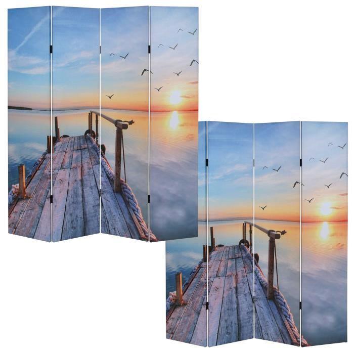 paravent 4 panneaux 180x160cm coucher de soleil achat vente paravent tissu bois 100. Black Bedroom Furniture Sets. Home Design Ideas