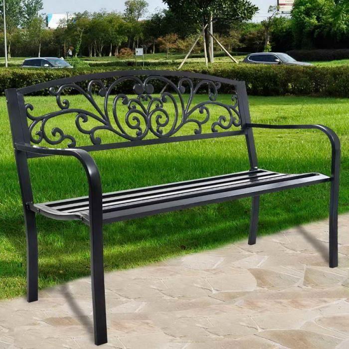 banc de jardin magnifique banc de parc l gant et romantique 127cm achat vente banc d. Black Bedroom Furniture Sets. Home Design Ideas