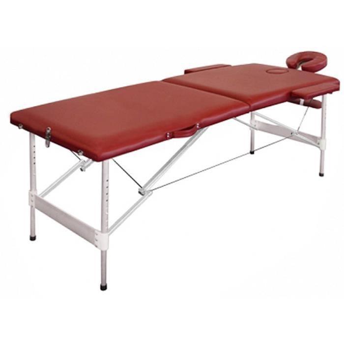 table de massage pliante avec 2 zones en alu rouge achat. Black Bedroom Furniture Sets. Home Design Ideas
