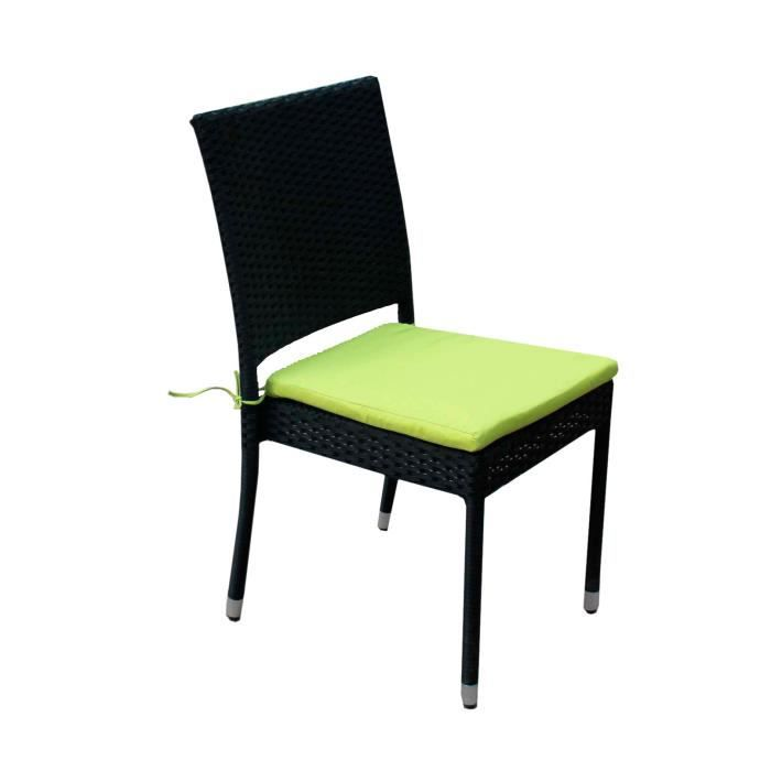 Chaise en r sine tress e avec coussin pour jardin et - Chaise jardin resine ...