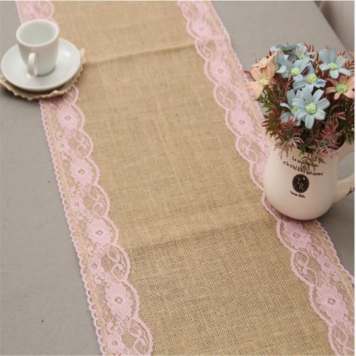 3pcs chemin de table rose avec bordure en dentelle de mariage d coration de f te taille 30 275cm. Black Bedroom Furniture Sets. Home Design Ideas