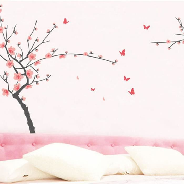 Floral japonais fleur de cerisier autocollant mural pour chambre d coration - Papier peint fleur de cerisier japonais ...