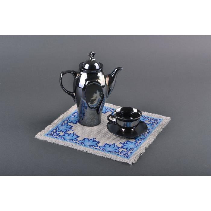 Petite serviette bleue brod e la main achat vente - Serviette de table brodee ...