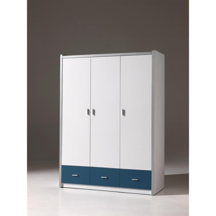 Armoire enfant 3 portes blanche et bleu ALVIN - Blanc et ...
