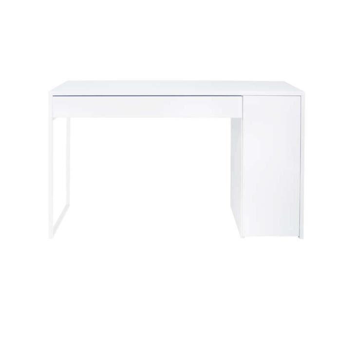 Bureau avec rangement eksj blanc achat vente bureau bureau avec rangemen - Bureau blanc avec rangement ...