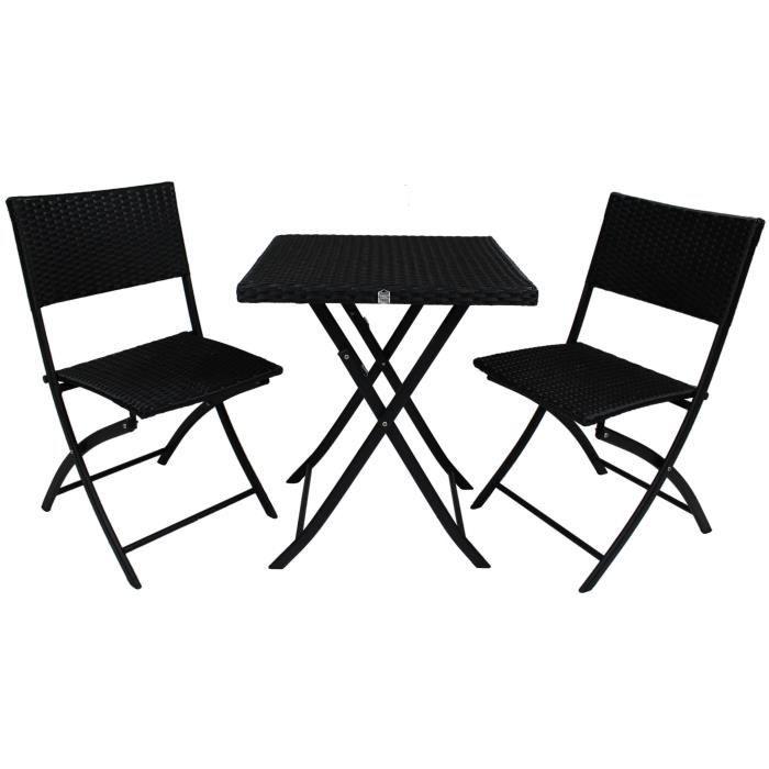Ensemble table de jardin 2 chaises en r sine tress e et - Chaise jardin resine ...