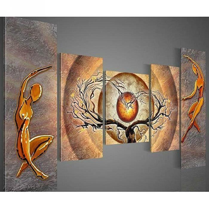 Tableau peinture main huile sur toile abstraites moderne for Peinture sur tableau