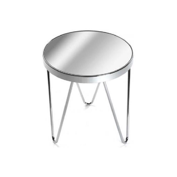 table d 39 appoint en m tal plateau miroir pieds ronds d43 betsy achat vente table d 39 appoint. Black Bedroom Furniture Sets. Home Design Ideas
