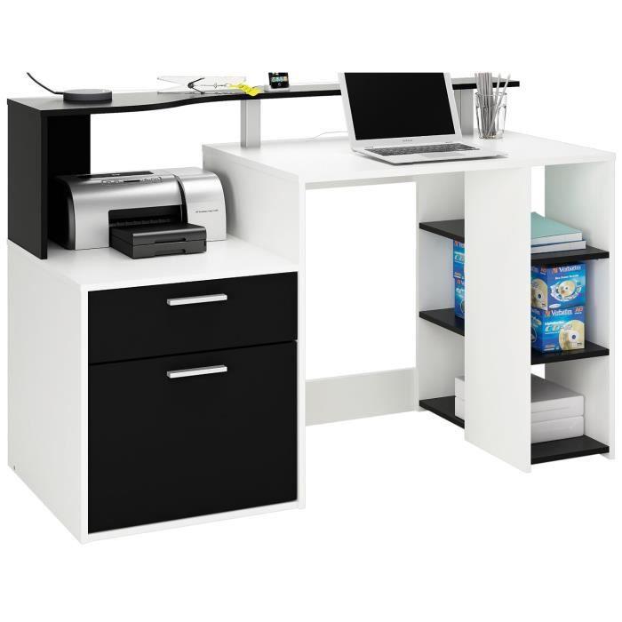 demeyere bureau multimedia avec 1 porte tiroir panneau de particules blanc noir achat vente. Black Bedroom Furniture Sets. Home Design Ideas