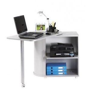 Bureau informatique table pivotante et rangement coloris for Meuble bureau roulette