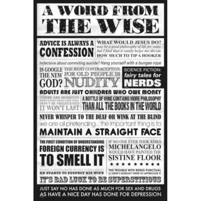 Humour poster paroles de sagesse en anglais achat for Humour anglais