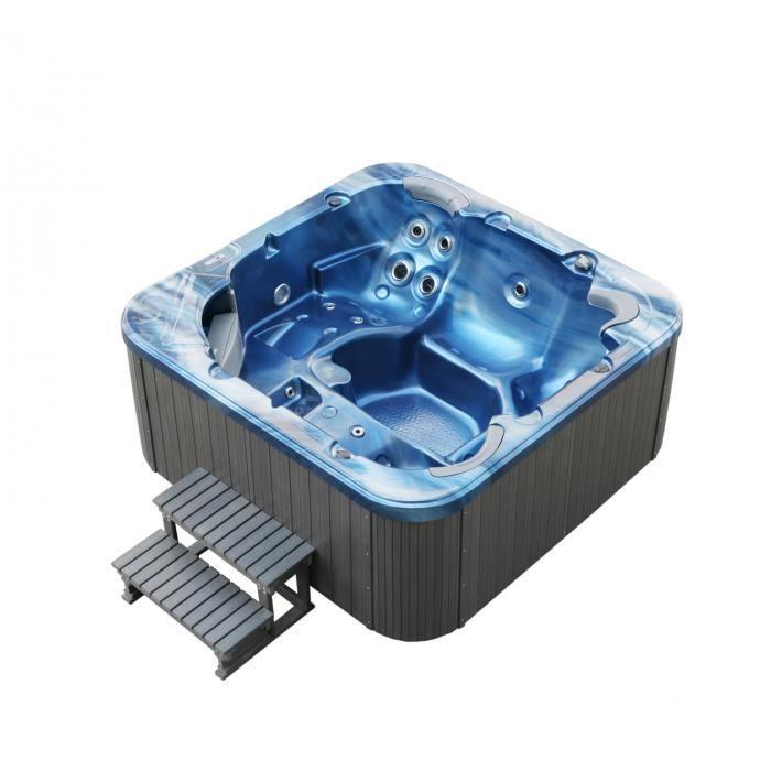 Bain remous ext rieur torina ocean blue 215 x 215 cm for Bain a remous exterieur