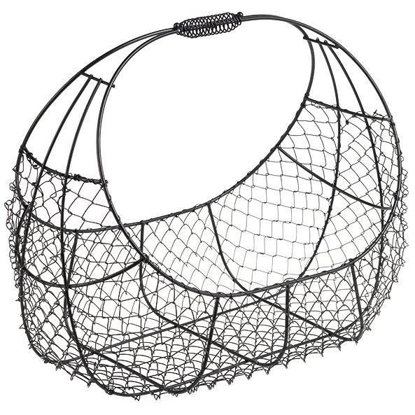 grand panier ovale structure en fil de m tal noir avec habillage en grillage poign e en m tal. Black Bedroom Furniture Sets. Home Design Ideas