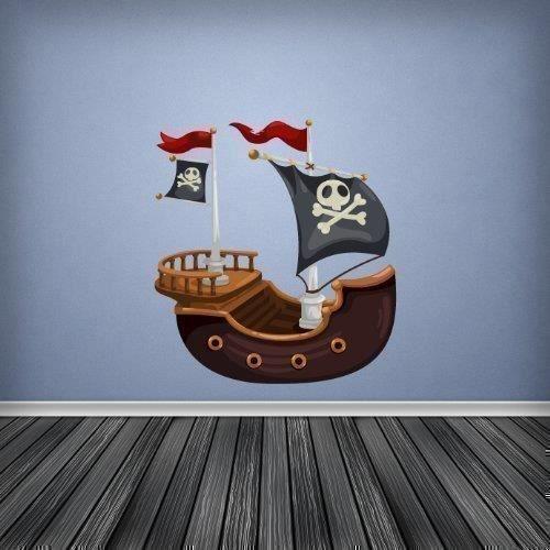 Autocollant mural d coration chambre enfant couleur bateau for Auto collant mural
