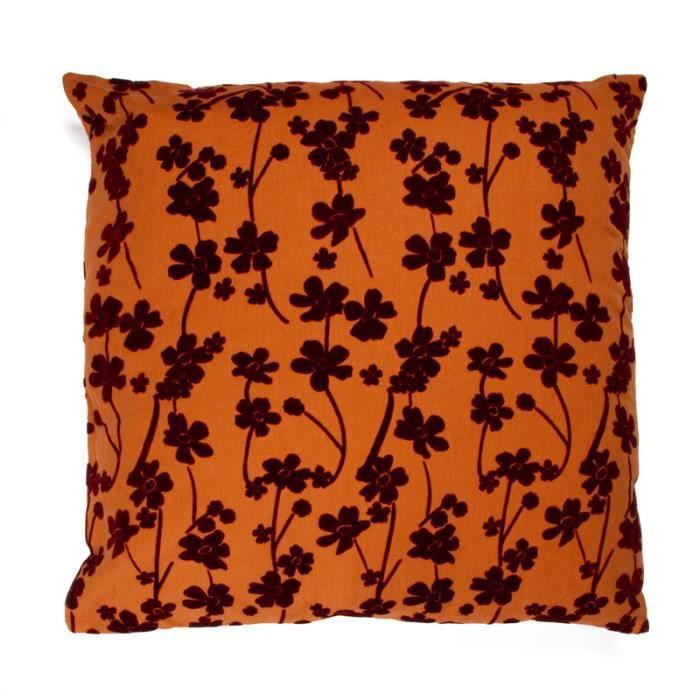 colchique coussin 60x60 orange monbeaucoussin achat vente coussin les soldes sur. Black Bedroom Furniture Sets. Home Design Ideas