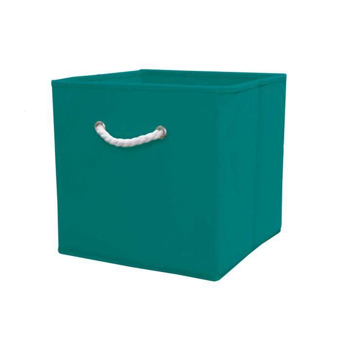 cube de rangement turquoise 32cm poignet en corde achat vente casier pour meuble cdiscount. Black Bedroom Furniture Sets. Home Design Ideas