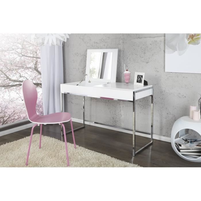 Coiffeuse design nyala blanc chrome achat vente for Chambre avec coiffeuse