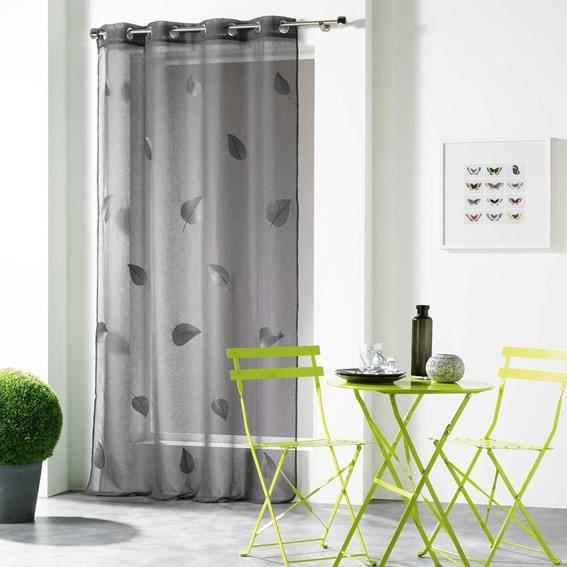 voilage 140 x h240 cm hanna anthracite achat vente voilage cdiscount. Black Bedroom Furniture Sets. Home Design Ideas