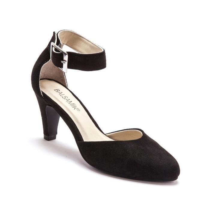 escarpins en cuir talon 7 cm noir noir achat vente. Black Bedroom Furniture Sets. Home Design Ideas