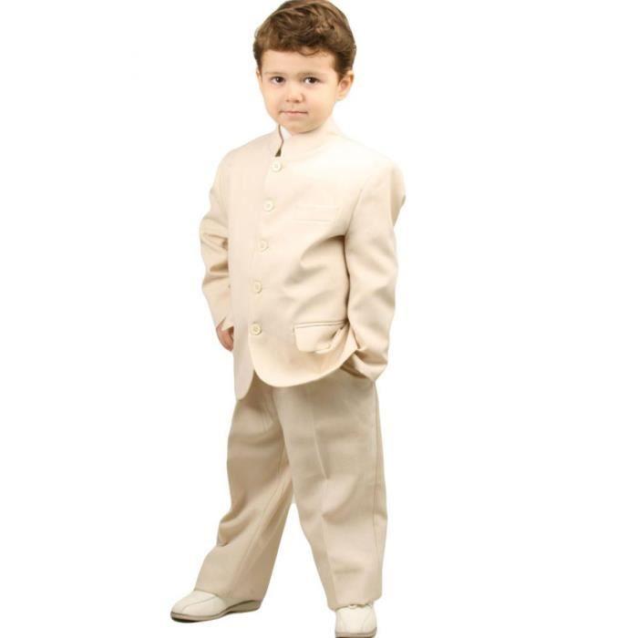 costume gar on cru chic 2 pi ces veste col mao et pantalon pour c r m cru achat vente. Black Bedroom Furniture Sets. Home Design Ideas
