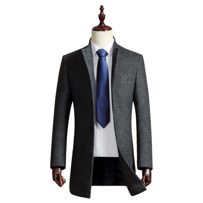 manteau laine business homme gris hiver marque luxe longue collet vertical veste pour hommes. Black Bedroom Furniture Sets. Home Design Ideas