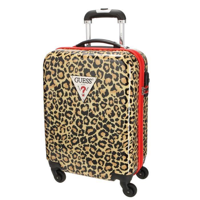 guess valise cabine trolley 4 roues joselle marron et noir achat vente valise bagage. Black Bedroom Furniture Sets. Home Design Ideas