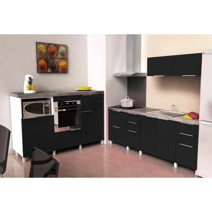 cuisine compl te spicy 4 00m noir brillant achat vente cuisine compl te cuisine spicy 4 00m. Black Bedroom Furniture Sets. Home Design Ideas