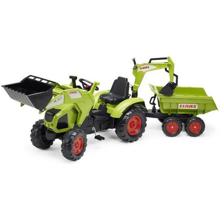 Falk tracteur p dales claas axos avec remorque pelle excavatrice et dumper achat vente - Tracteur remorque enfant ...