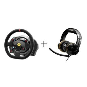 Pack Thrustmaster : Volant T300 Ferrari Alcántara Edition - PS3/ PS4/ PC + Micro-Casque Gamer Y-300CPX GRWL Edition - Filaire