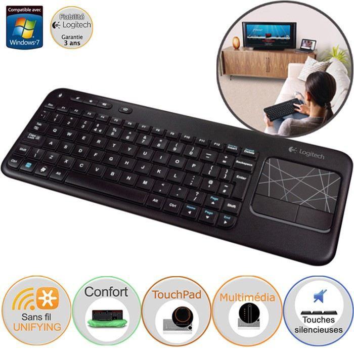 logitech clavier sans fil touch k400 achat vente clavier d 39 ordinateur logitech wireless. Black Bedroom Furniture Sets. Home Design Ideas