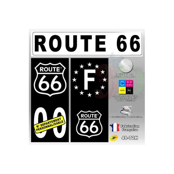 4x stickers plaques route 66 t2 auto fond noir achat for Decoration murale route 66