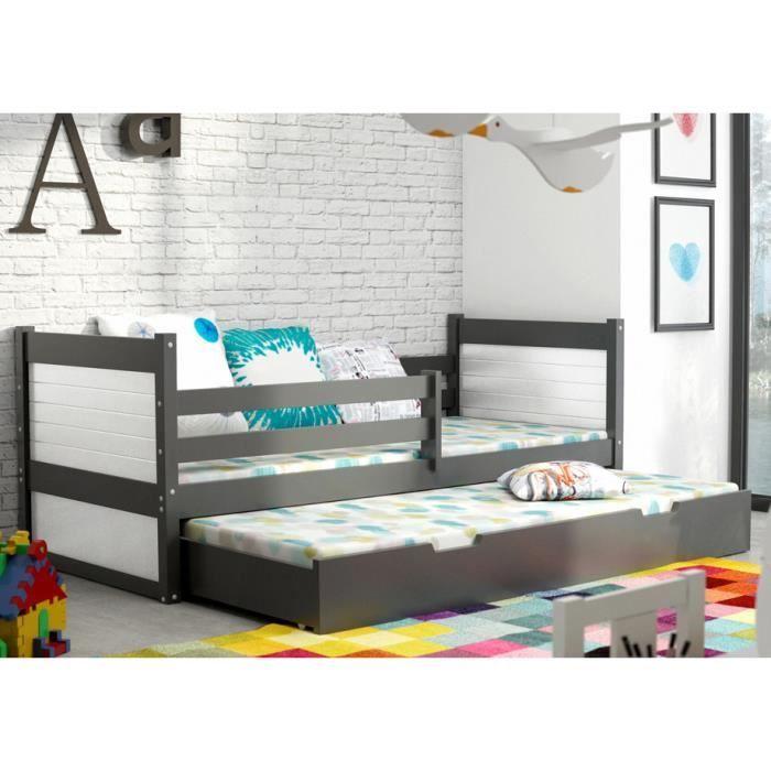 lit gigogne rico 2 en pin massif 200x90 gris achat vente lit gigogne soldes cdiscount. Black Bedroom Furniture Sets. Home Design Ideas