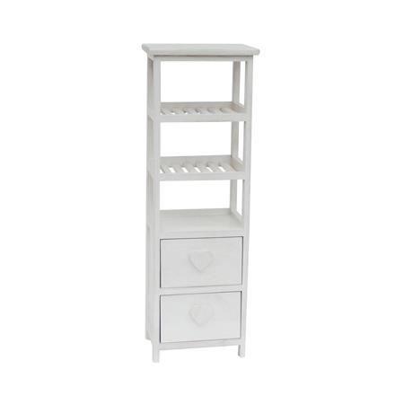 Atlantique petit meuble de rangement de salle de bain 28 cm laqu blanc bri - Petit meuble salle de bain blanc ...