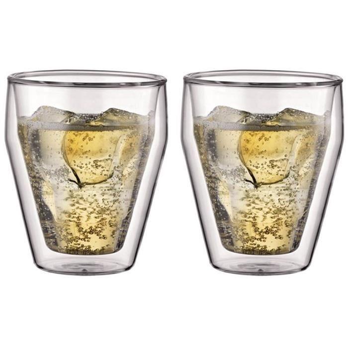 bodum titlis set 2 verres double paroi empilable 0 25l achat vente assortiment de verres. Black Bedroom Furniture Sets. Home Design Ideas