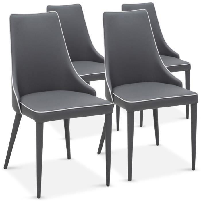 lot de 4 chaises drago gris liser blanc achat vente. Black Bedroom Furniture Sets. Home Design Ideas