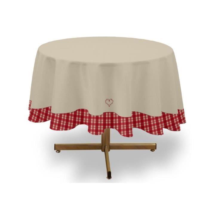 Nappe ronde brod e parement vichy coton recycl rouge for Nappe de table ronde