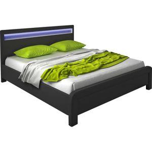lit noir led 160x200 achat vente lit noir led 160x200. Black Bedroom Furniture Sets. Home Design Ideas