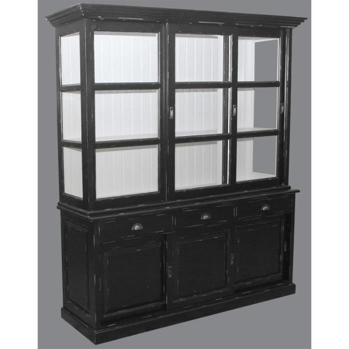 Bibliotheque 3 portes coulissantes pin massif achat for Armoire pin massif porte coulissante