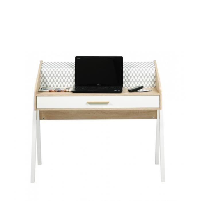 bureau vintage rideau vagues tiroir blanc coloris des pieds pieds blancs achat vente. Black Bedroom Furniture Sets. Home Design Ideas