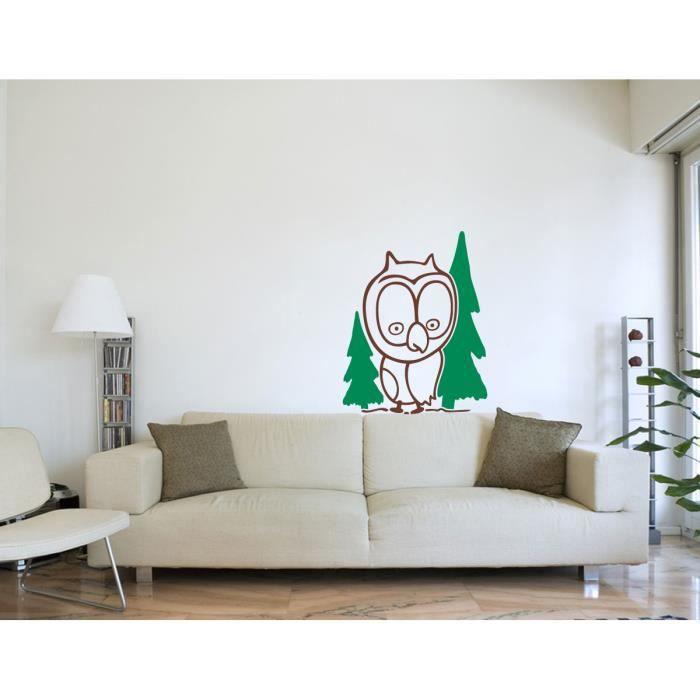 Autocollant stickers muraux sticker mural hibou dans la for Autocollant mural