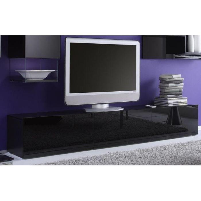 noir 3 portes abattants… - Achat / Vente meuble tv Meuble TV moderne ...