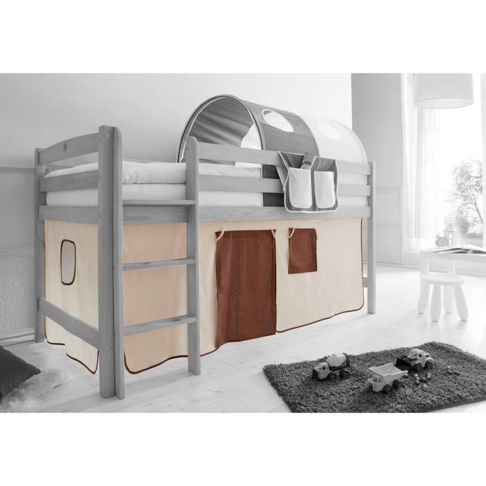 Ensemble de 2 rideaux tissus pour lit mezzanine beige marron achat vente - Rideau pour lit superpose ...