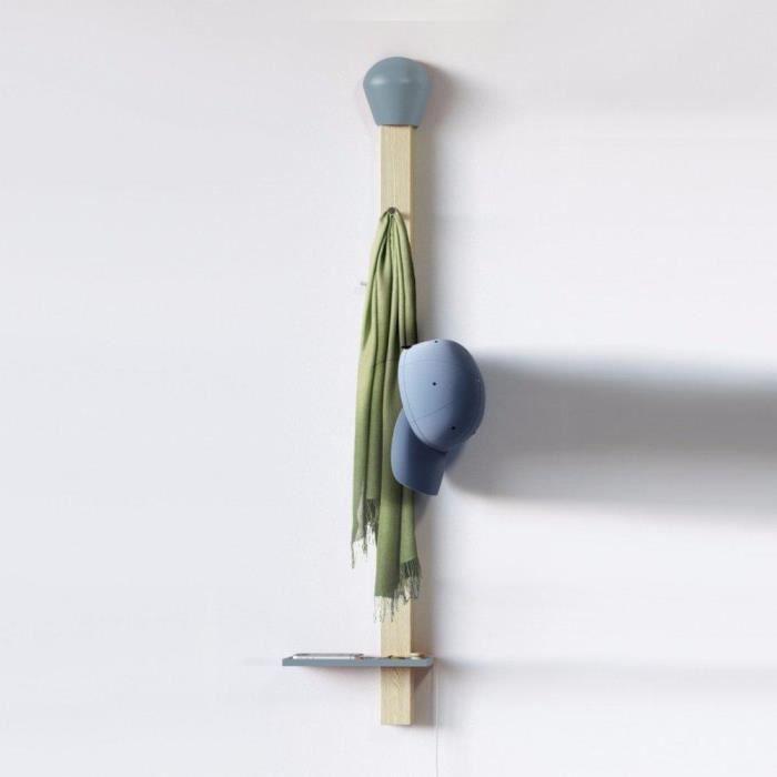 porte manteau mural allumette bleu avec tablette achat vente porte manteau cdiscount. Black Bedroom Furniture Sets. Home Design Ideas