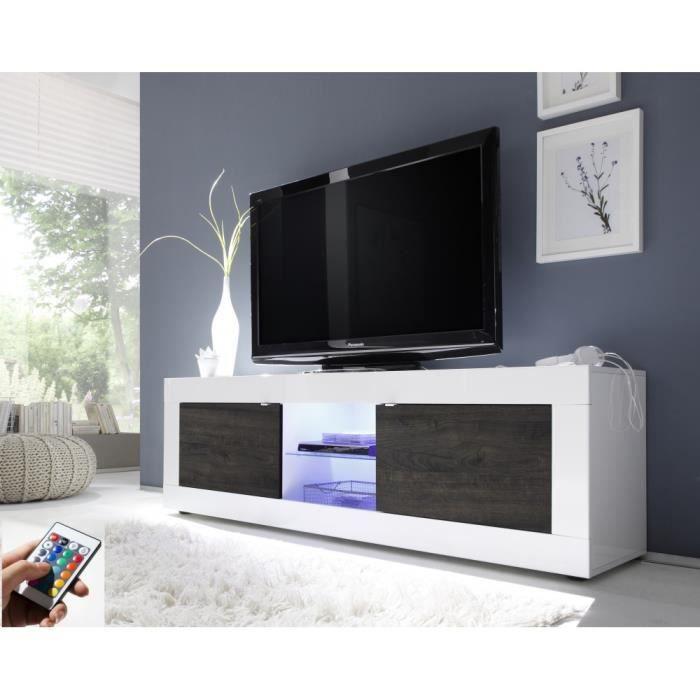 meuble tv lumineux oxford13e blanc et décor wengé laqué ...