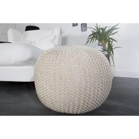 pouf grosse maille tricote blanc 50 cm achat vente pouf poire cdiscount. Black Bedroom Furniture Sets. Home Design Ideas
