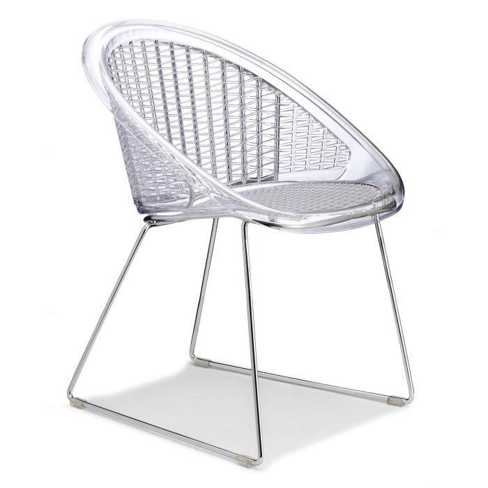 chaise transparente design avec coussin d assis achat vente chaise polycarbonate coton. Black Bedroom Furniture Sets. Home Design Ideas