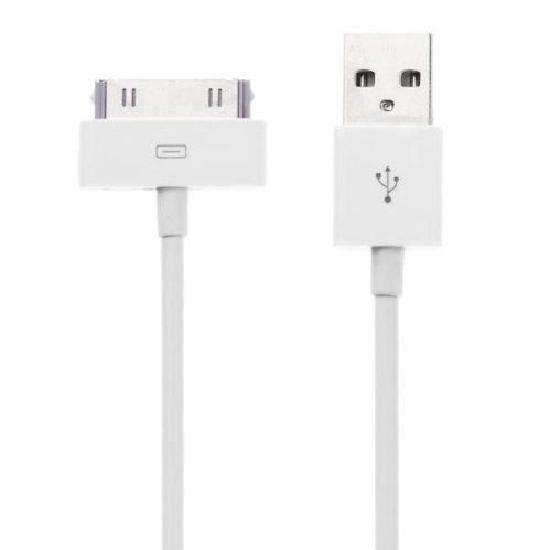 cable usb pour chargeur apple iphone 4 4s blanc achat c ble t l phone pas cher avis et. Black Bedroom Furniture Sets. Home Design Ideas