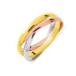 ALLIANCE - SOLITAIRE Alliance 3 Anneaux De 2 Mm Or Jaune Or Rose Or ...